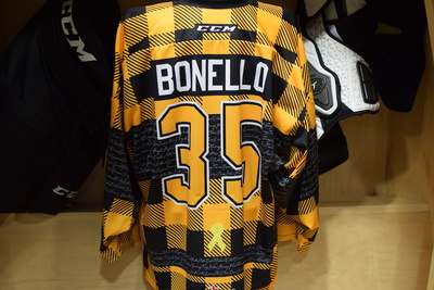 #35 Brendan Bonello Kingston Frontenacs Game Issued Hockey Fights Cancer Plaid Jersey