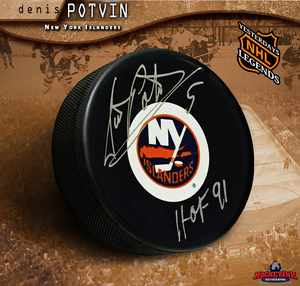 DENIS POTVIN Signed New York Islanders Puck with HOF 91 inscription