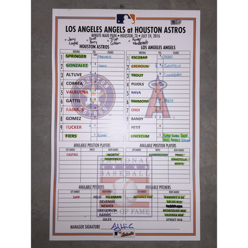 Photo of Astros vs Angels, July 24, 2016, Game-Used Baseball Hall of Fame Induction Weekend Lineup Card