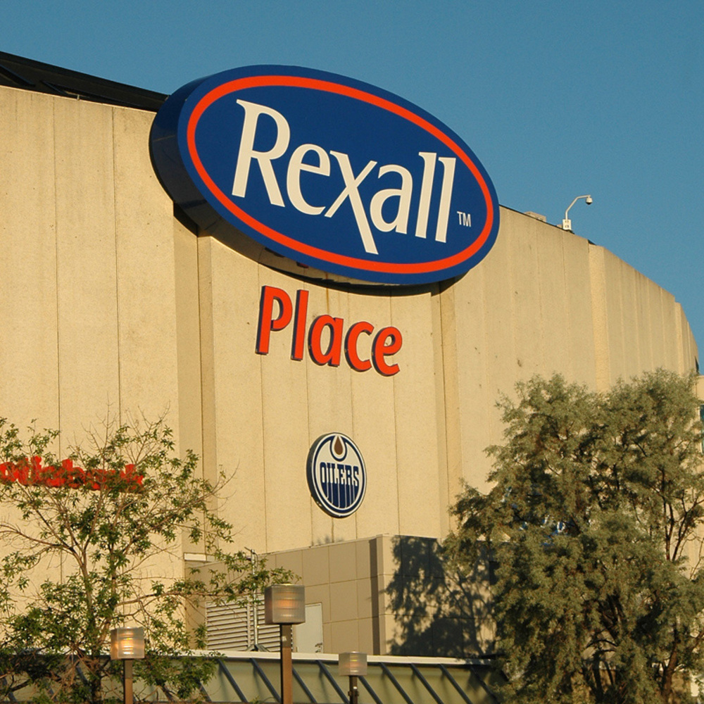 Edmonton Oilers Logo From North East Exterior Wall Of Rexall Place