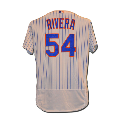 Photo of T.J. Rivera #54 - Game Used White Pinstripe Jersey - Mets vs. Phillies - 9/23/16