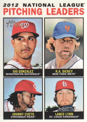 Photo of 2013 Topps Heritage #3 Gio Gonzalez/R.A. Dickey/Johnny Cueto/Lance Lynn