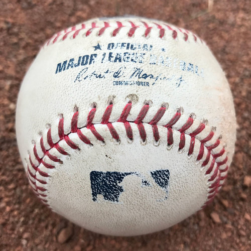 Photo of San Francisco Giants - 2017 Game-Used Baseball - Brandon Crawford and Pablo Sandoval Singles (August 23rd)