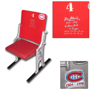 Jean Beliveau Autographed Montreal Forum #4 Seat w/Inscriptions (Montreal Canadiens)