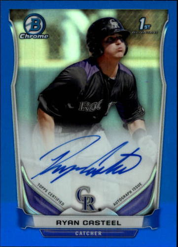 Photo of 2014 Bowman Chrome Prospect Autographs Blue Refractors #BCAPRC Ryan Casteel