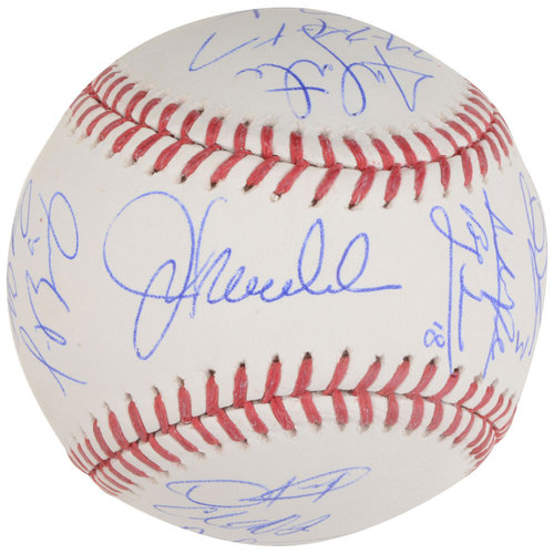 Photo of Chicago Cubs 2016 World Series Champions Team Signed 100 Years at Wrigley Field Logo Baseball with 21 Signatures and Limited Edition 1 of 3