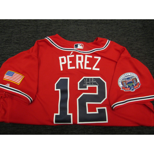Photo of Braves Charity Auction - Eddie Perez Game Used & Autographed Braves Military Appreciation Jersey