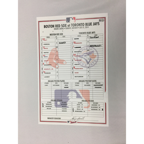 Photo of July 21, 2014 Red Sox at Blue Jay Game-Used Lineup Card