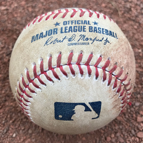 Photo of San Francisco Giants - 2017 Game-Used Baseball - Ty Blach strikes out Rhys Hoskins (August 19th: also, Maikel Franco single)
