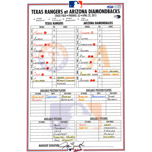 Photo of Texas Rangers Game-Used Lineup Card vs. Arizona Diamondbacks on April 22, 2015. HR by Beltre