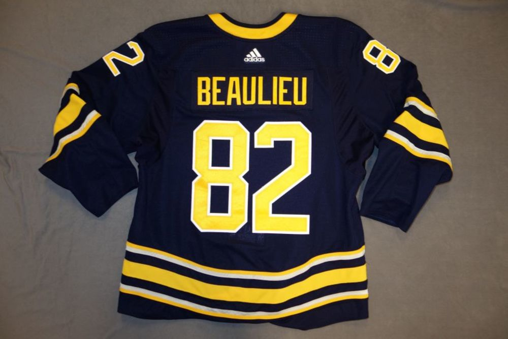 Nathan Beaulieu 2017-18 Buffalo Sabres Game Worn Set 2 Home Jersey