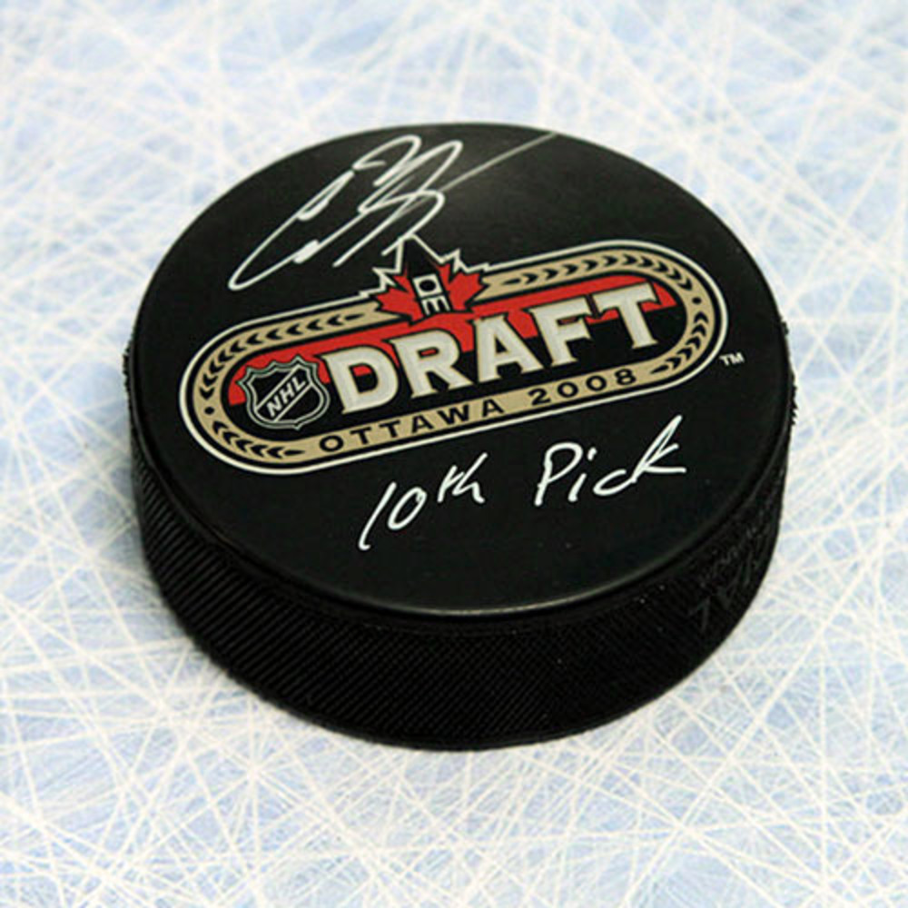 Cody Hodgson 2008 NHL Draft Day Puck Autographed with 10th Pick Inscription