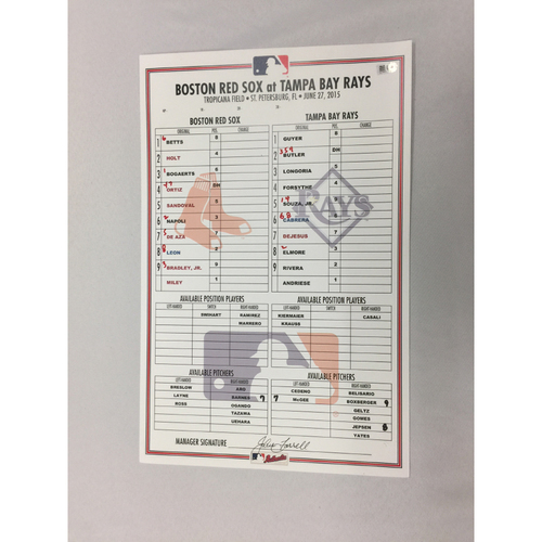 Photo of June 27, 2015, Red Sox at Rays Game-Used Lineup Card