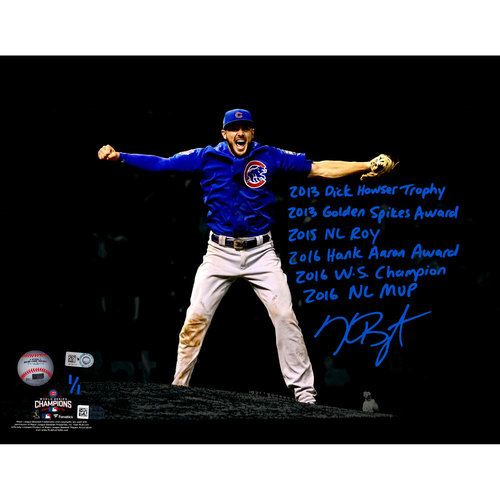"""Photo of Kris Bryant 2016 World Series Champions Autographed 11"""" x 14"""" Last Out Spotlight Photograph with Career Achievements Inscriptions and Limited Edition 1 of 1"""