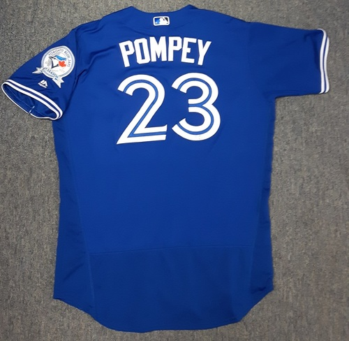 Photo of Authenticated Game Used Jersey - #23 Dalton Pompey (September 11, 2016). David Ortiz's last game in Toronto.