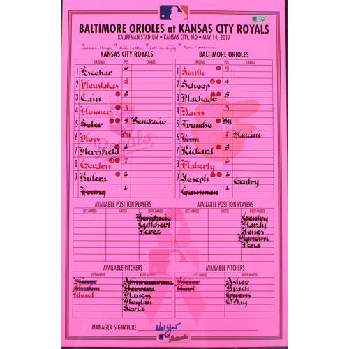 Photo of Game-Used Mother's Day Line-Up Card (5/14/17 BAL at KC)