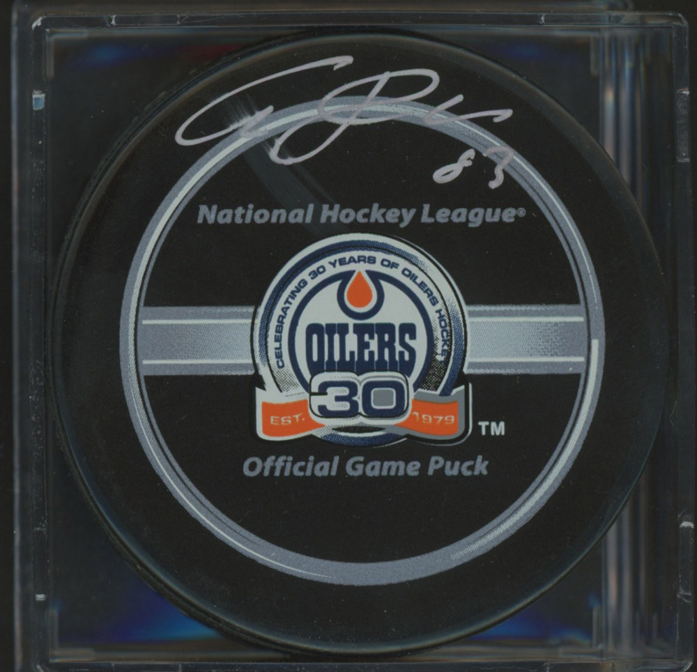 ALES HEMSKY Edmonton Oilers SIGNED 30th Year Game Puck *Autograph Slightly Smudged*