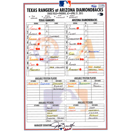 Photo of Texas Rangers Game-Used Lineup Card vs. Arizona Diamondbacks on April 21, 2015. 7-1 Rangers Win, Fielder With Two-Run HR