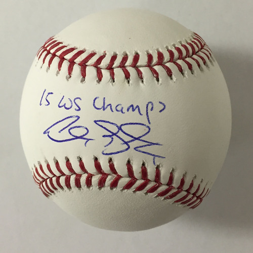 "Photo of Alex Gordon Autographed ""15 WS Champs"" Baseball"