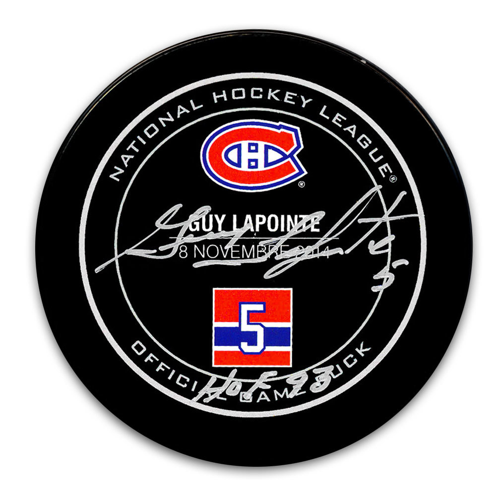 Guy Lapointe Montreal Canadiens HOF Retirement Night Autographed Puck