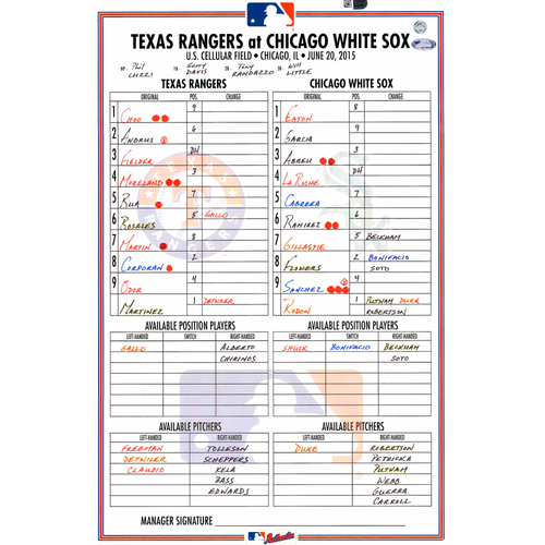 Photo of Texas Rangers Game-Used Lineup Card vs. Chicago White Sox on June 20, 2015, 3-2 White Sox Victory