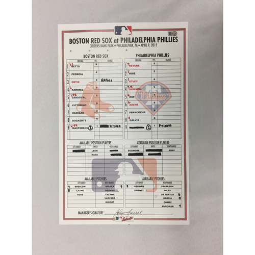 Photo of April 9, 2015 Red Sox at Phillies Game-Used Lineup Card