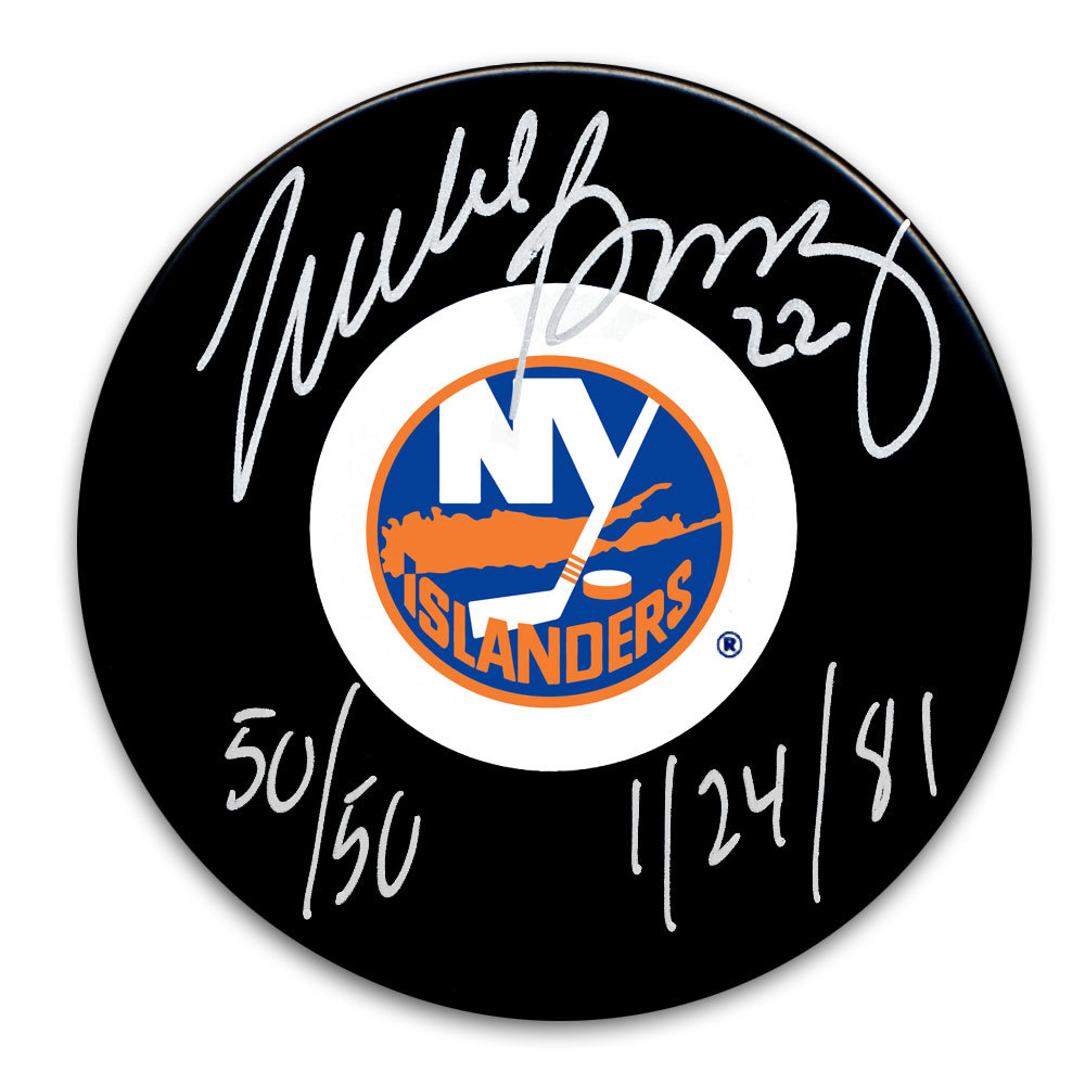 Mike Bossy New York Islanders 50/50 1/24/81 Autographed Puck