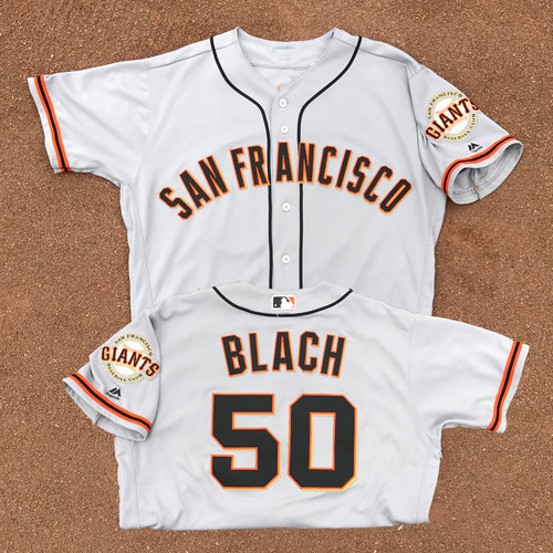 Photo of San Francisco Giants - Game-Used Jersey - Ty Blach - Worn on 6/2/17 - 9 IP, 0 ER, 7 H, 4 SO - COMPLETE GAME SHUTOUT