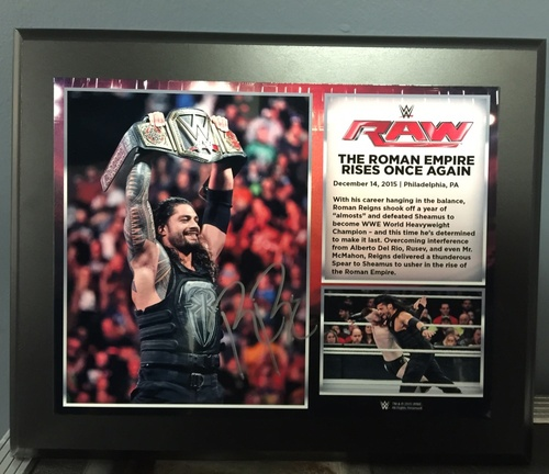 Photo of Roman Reigns SIGNED WWE World Heavyweight Championship Commemorative Photo Plaque