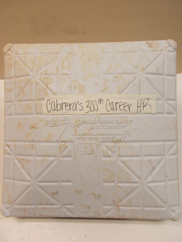 Photo of Game-Used Base: Miguel Cabrera's 300th Career Home Run Game