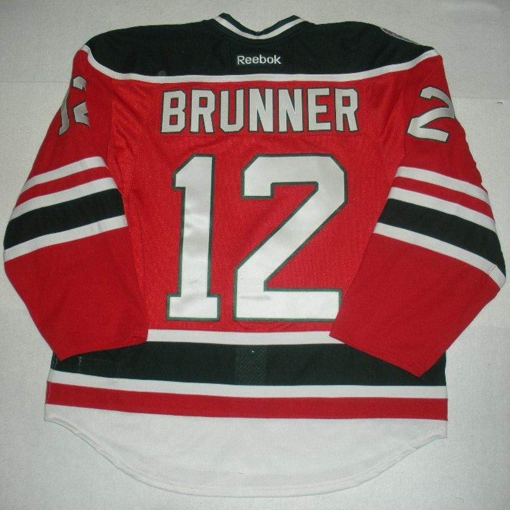 Damien Brunner - 2014 Stadium Series - New Jersey Devils - Red Game-Worn Jersey - Worn in Second Period
