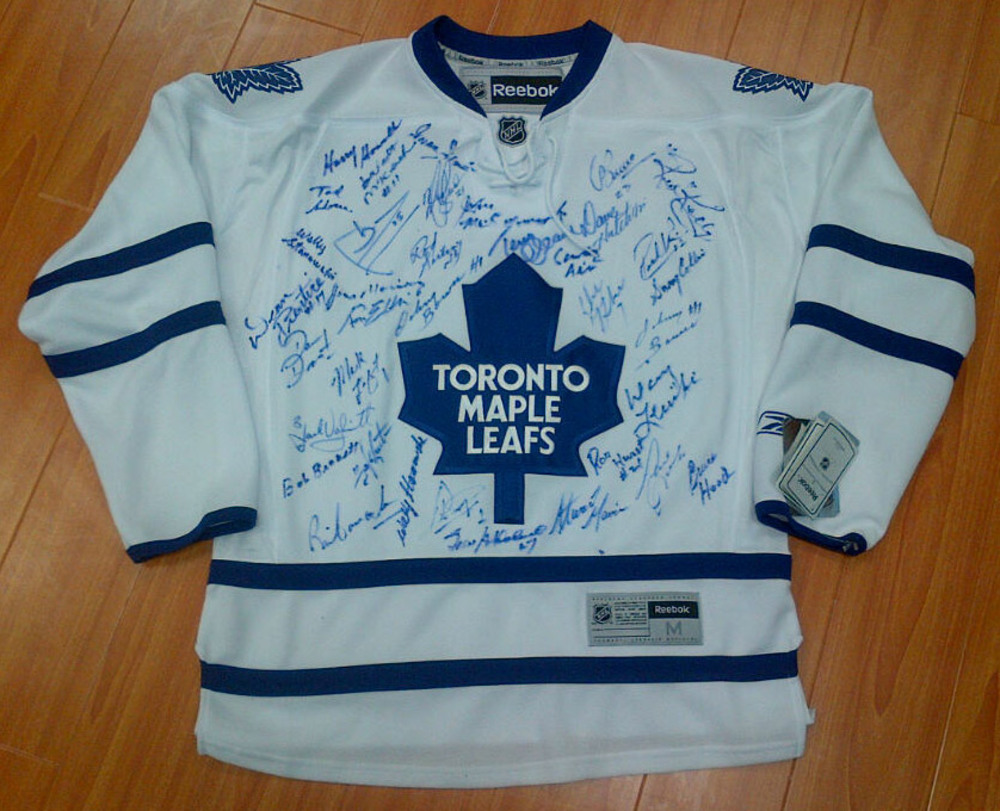 Toronto Maple Leafs Legends Multi-Signed RBK Hockey Jersey *36 AUTOGRAPHS* *BOWER, GARTNER, KELLY, ETC*