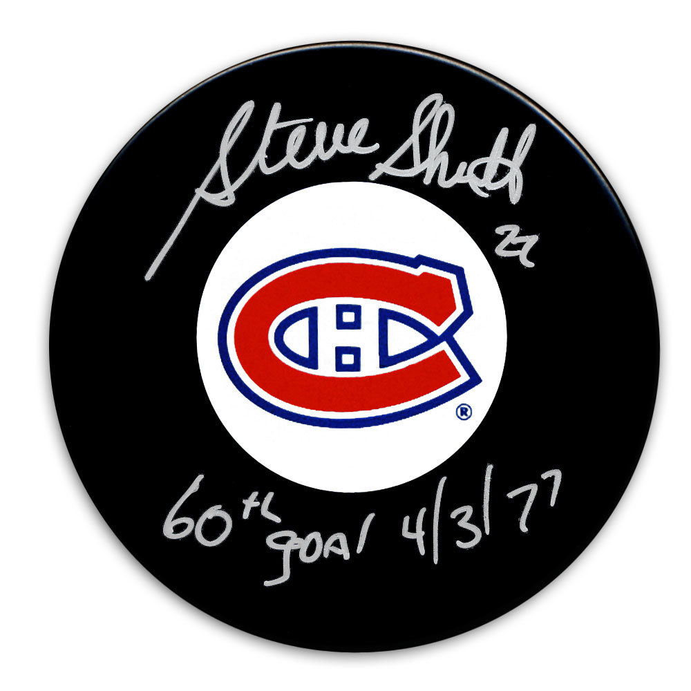 Steve Shutt Montreal Canadiens 60 Goals 4/3/77 Autographed Puck