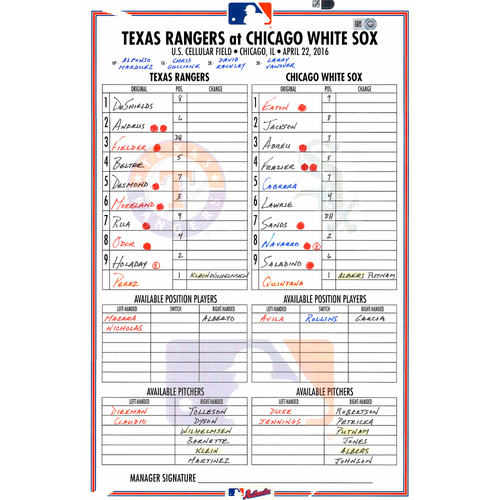 Photo of Texas Rangers Game-Used Lineup Card vs. Chicago White Sox on April 22, 2016. White Sox With Rare Triple Play
