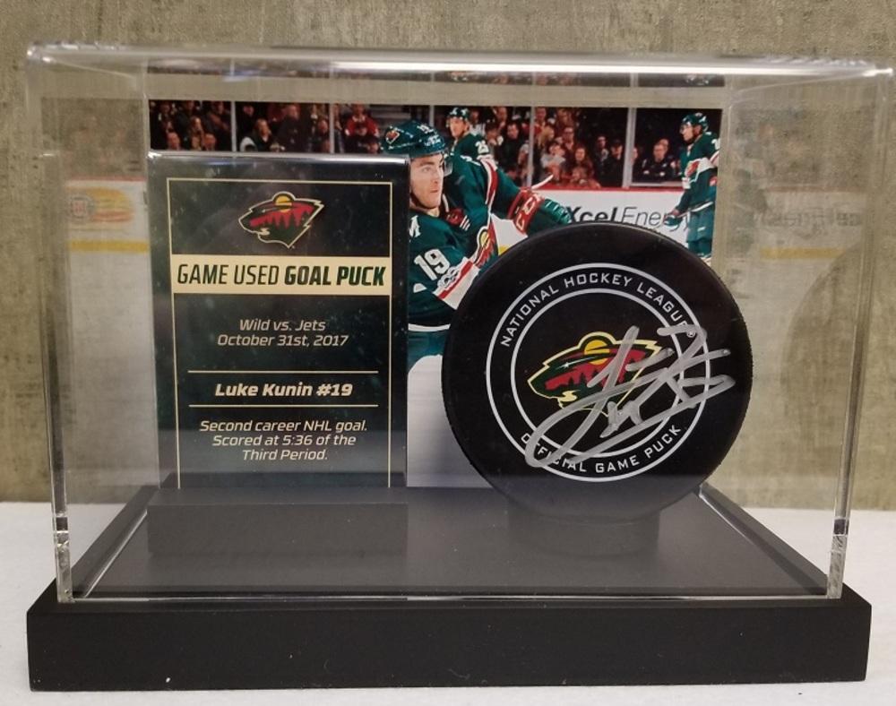 Wild Game Used Goal Puck- Kunin Second Career NHL  Goal