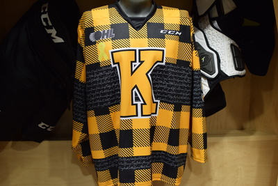 MC Reid Game Issued Kingston Frontenacs Hockey Fights Cancer Plaid Jersey