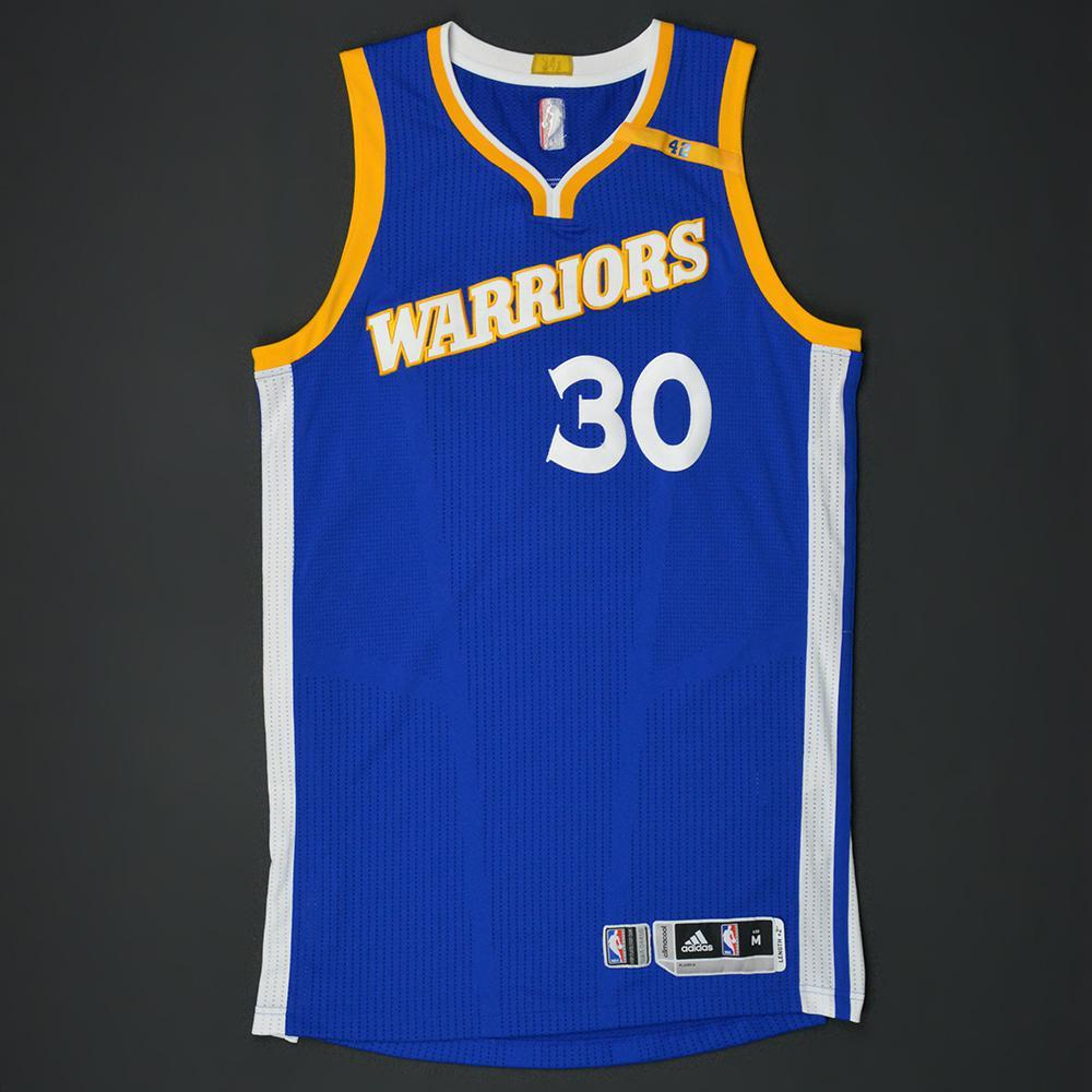 Stephen Curry - Golden State Warriors - Game-Worn Blue Alternate w/42 Patch Jersey - 2016-17 Season