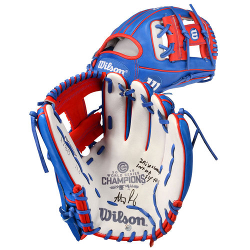 Photo of Anthony Rizzo Chicago Cubs Autographed Wilson Commemorative Glove with 2016 WS Champs, Last Out, Fly the W Inscriptions