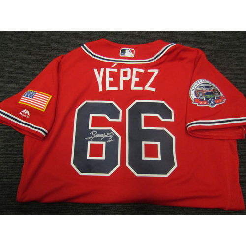 Photo of Braves Charity Auction - Jose Yepez Game Used & Autographed Braves Military Appreciation Jersey