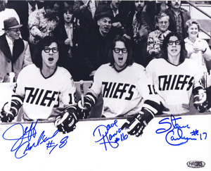 The Hanson Brothers Triple Signed Slap Shot 8x10 Photo *Autograph Slightly Smudged*