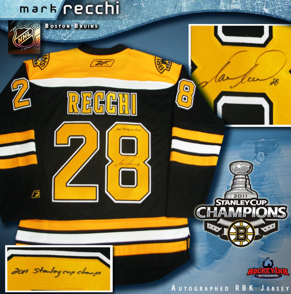 MARK RECCHI Signed Boston Bruins Black RBK Premier Jersey Inscribed 2011 Stanly Cup Champions