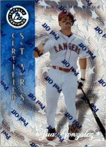 Photo of 1997 Pinnacle Totally Certified Platinum Blue #142 Juan Gonzalez CERT