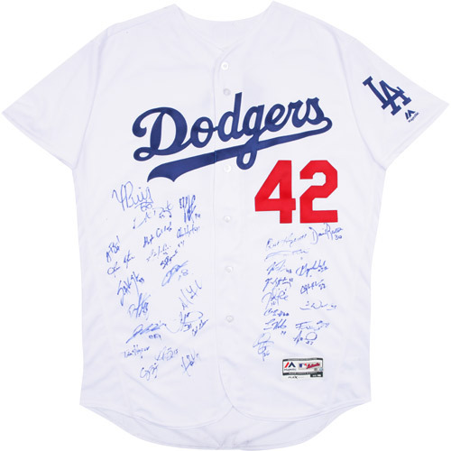 Photo of 2017 Jackie Robinson Day Jersey - Los Angeles Dodgers Team Autographed Jersey