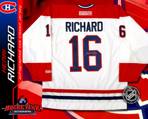 HENRI RICHARD Signed CCM Vintage White Montreal Canadiens Jersey