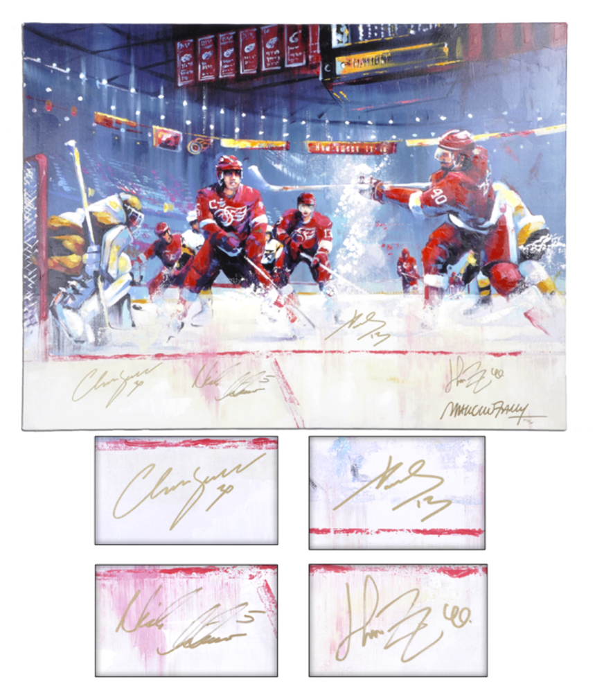 Detroit Red Wings Datsyuk, Lidstrom, Zetterberg & Osgood Autographed 36