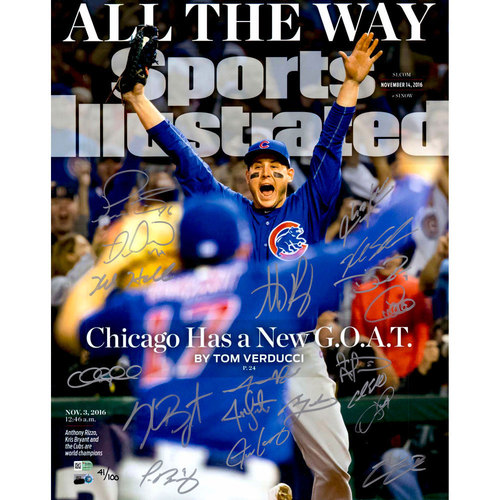 """Photo of Chicago Cubs 2016 World Series Champions Team Signed 16"""" x 20"""" New Goat Sports Illustrated Cover Photograph with 19 Signatures and Limited Edition of 100"""