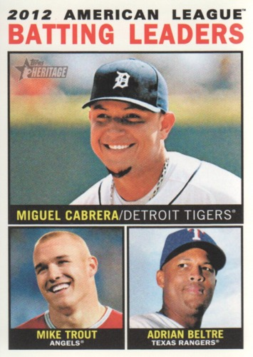 Photo of 2013 Topps Heritage #8 Miguel Cabrera/Mike Trout/Adrian Beltre