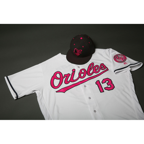 Photo of Mark Trumbo Autographed, Game-Worn Mother's Day Jersey & Cap