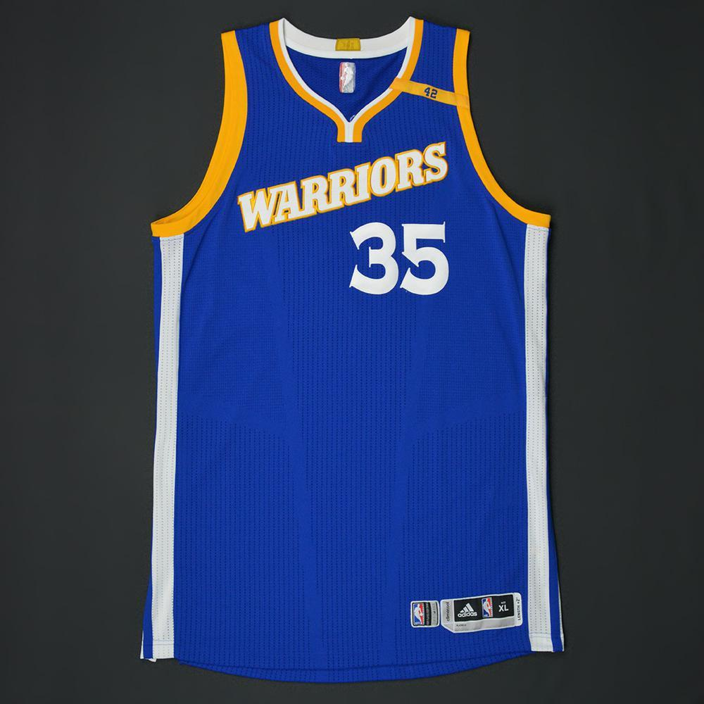 Kevin Durant - Golden State Warriors - Game-Worn Blue Alternate w/42 Patch Jersey - 2016-17 Season
