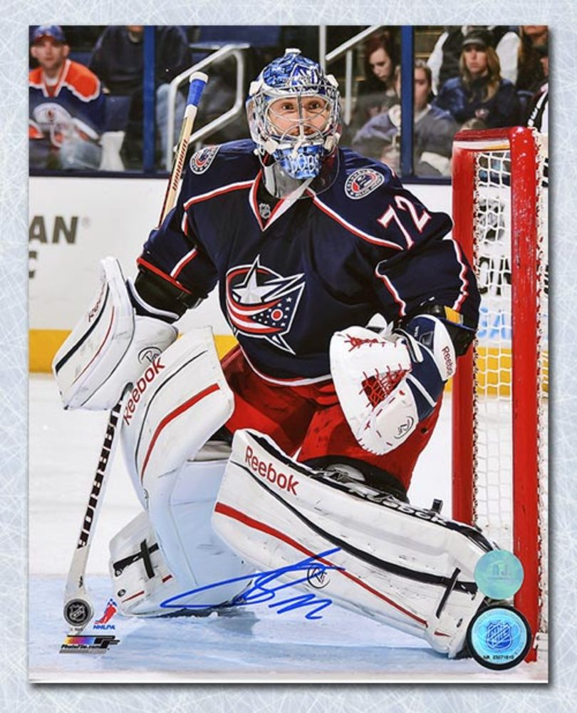 SERGEI BOBROVSKY Autographed Columbus Blue Jackets 8x10 Gaolie Action Photo